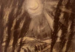 Exodus, szén, papír, 24,5x26,5 cm