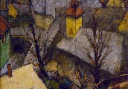 Fák, templom, olaj, karton, 25x30 cm