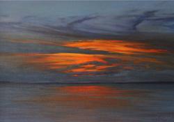 Februári este, 2009, vászon, olaj, 50x70 cm