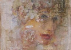 Fej fehér virágokkal, 2012, olaj, vegyes techn, falemez, 18x13 cm