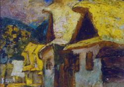 Felsőbányai házak I, olaj, karton, 24,5x29 cm