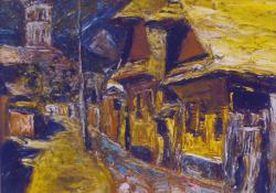 Felsőbányai házak II, olaj, karton, 24,5x29 cm