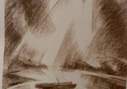 Fények a víz felett, 1929, ceruza, papír, 65x49 cm