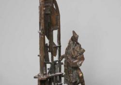 Festő, 2004, bronz, kő, 42 cm