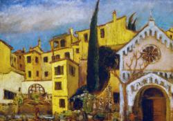 Firenzei városkép, 1938, olaj, karton, 70x90 cm