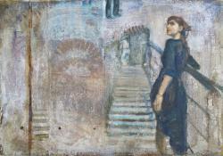 Föl a lépcsőn le, 2012, olaj + vegyes techn, vászon falemezen, 41x56 cm