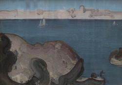 Francia tengerpart, 1979, olaj, farost, 60x82 cm