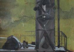Fúróberendezés, 1965, olaj, vászon, 80x60 cm