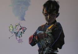 Galambom, 2012, vászon, akril, olaj, 90x90 cm