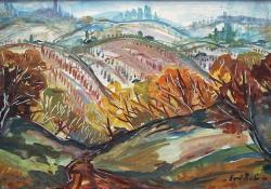 Göcseji dombok ősszel, 1979, farost, olaj, 39x59 cm