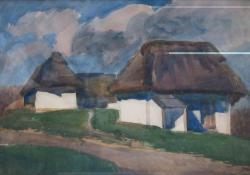 Göcseji pincék, 1930 k, akvarell, papír, 30x45 cm