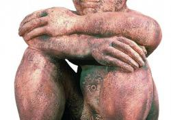 Gondolkodó, 1993, agyagmázas samott, 55 cm