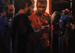Gondolkodók között, 2010, vászon, olaj, 80x80 cm