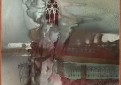 Gótika, 1989, vegyes techn, farost, 55x54 cm