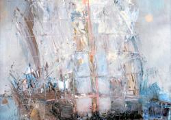 Hajó, farost, olaj, 50x40 cm
