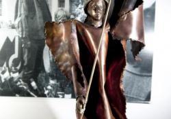 Harcos II, 2011, vörösréz, bronz, kő