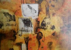Hegedű, 2006, vegyes t, vászon, 54x70 cm