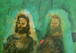 Hódolat a gótikának II, 2002, akril, vászon, 55x70 cm