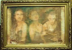 Hölgy háromszor, 2009, olaj, vegyes techn, falemez, 10x15 cm