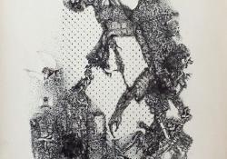 Melankólia, 1977,  tus, toll rajz, gézlenyomat, 43 x 30,5 cm