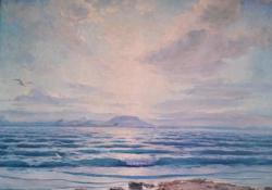 Hullámzó Balaton, olaj, vászon