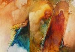 Hungária védőpajzsa, olaj, vászon, 70x50 cm