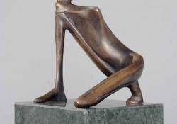 Ignudó II, 1997, bronz, kő, 21 cm