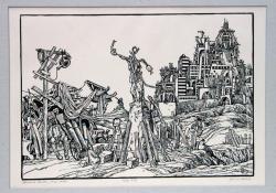 Jónás és Ninive, 1976, linómetszet, 345x490 mm