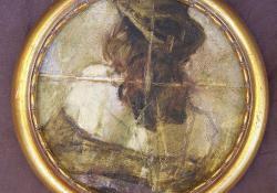 Kalap, kabát, 2011, olaj, vászon papírlemezen, 20,5 cm