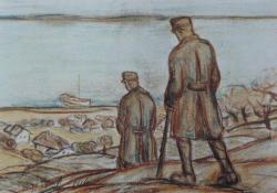 Katonák a Balaton partján, 1916.