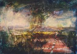 Kék fa horizonttal, 2012, olaj, vászon falemezen, 13x18 cm