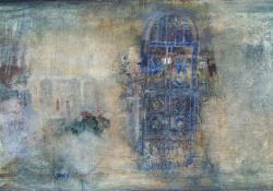 Kék rács, 2011, olaj, vászon, 37,5x76 cm