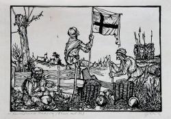 Keresztesek tábora (Dózsa III.), 1964, linómetszet, 175x250 mm