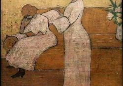 Két nőalak szobában, 1910 k, olaj, vászon