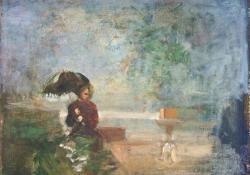 Költözés a partra, 2012, olaj, vászon falemezen, 23,5x28 cm