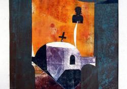 Kompozíció III, 1978, vegyes techn, papír, 38x31,5 cm