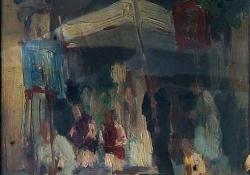 Körmenet, 1940, olaj, vászon, 30x22 cm