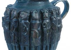 Korsó apostolfigurákkal, 1970, fedőmázas kerámia, 38 cm