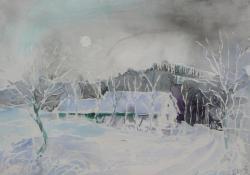 Kovácsék pincéje télen, 2008, papír, akvarell, 45x55 cm