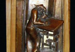 Krónikás, 2004, bronz, fa, 56x22 cm