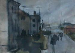 Lakótelep II, 1963 előtt, akvarell, 23x31 cm