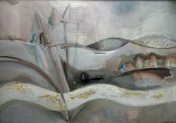 Lélekharang, 1973, olaj, farost, 85x122 cm