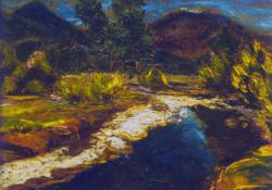Lila hegyek, patakpart, olaj, karton, 25x29,5 cm