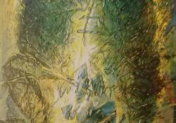 Lombfény, 1994, olaj, vászon, 110x70 cm