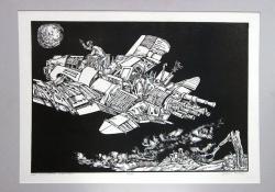 Lót menekülése Sodomából, 1978, linómetszet, 350x500 mm