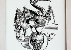 Madár és koponya, 1983 k, papír, linómetszet, 21x18 cm