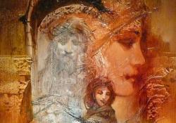 Madonna, olaj, fatábla, 40x25 cm