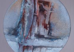 Magány, 1998, vegyes techn, farost, 39x39 cm