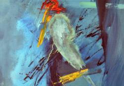 Magány, farost, olaj, 70x50 cm
