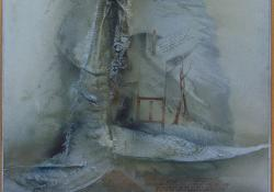 Menedék, 1991, vegyes techn, farost, 55x54 cm